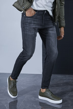 Sateen Men Erkek Koyu Antrasit Denim Pantolon 2