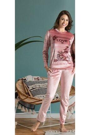 Poleren 6526 Kadın Kadife Pijama Takım - Pembe 0
