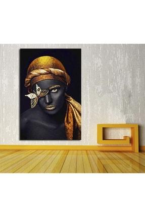 Hobimania Kanvas Tablo Kelebekli Afrikalı Kadın 40x60 Cm Yaylera Dekoratif Moda Duvar Dekorasyon Tablo 1