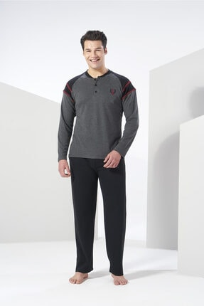 Erkek Füme Melanj Kışlık Penye Pijama Takımı resmi