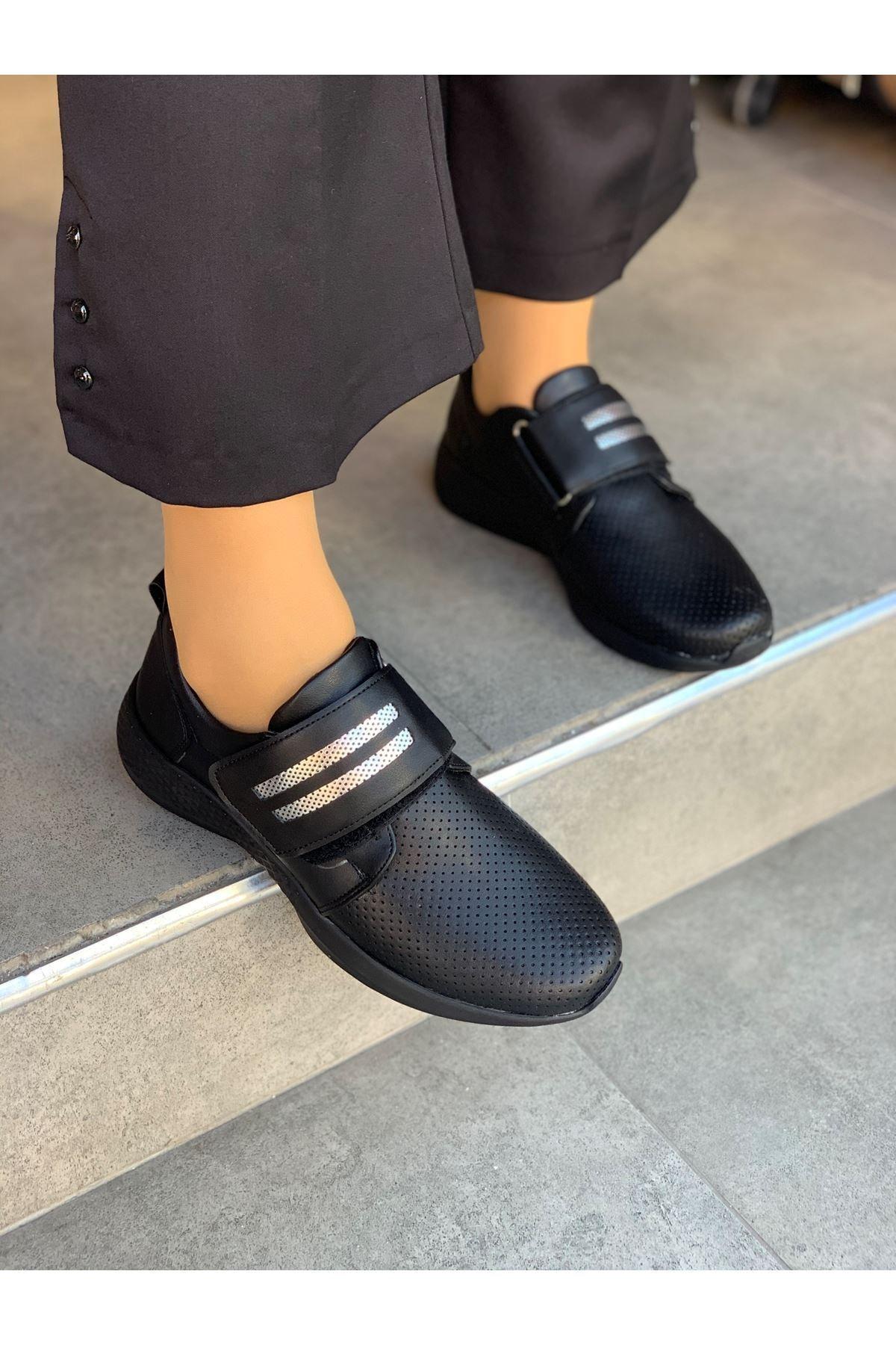 LDÇ Kadın Siyah Gümüş Şeritli Cırtcırtlı Ayakkabı