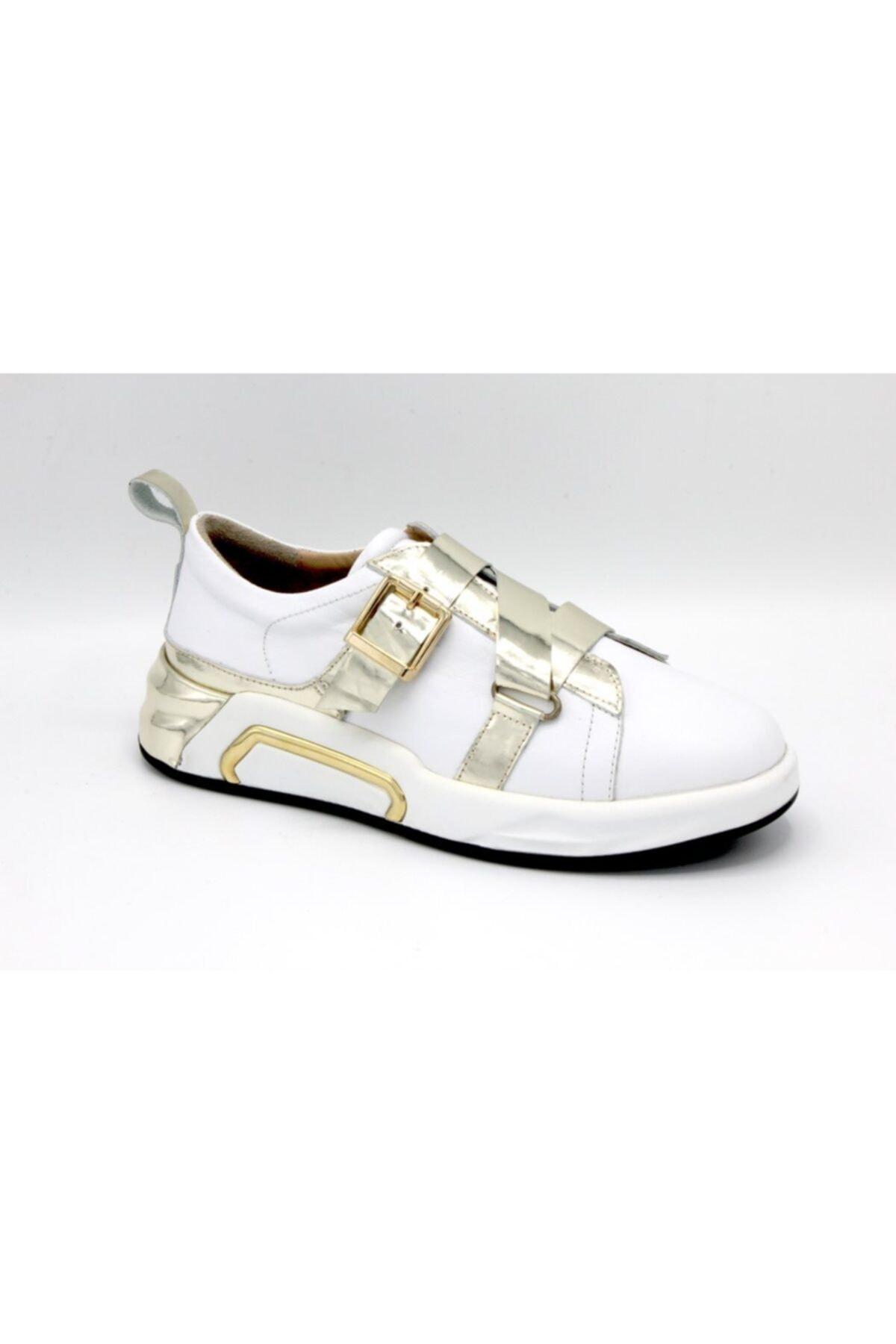 unica shoes Kadın Beyaz Bantlı Yuvarlak Burun Ayakkabı