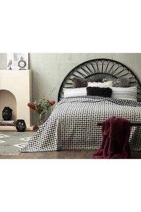 English Home Pamuklu Çift Kişilik Battaniye 200x220 Cm Beyaz - Lacivert 1