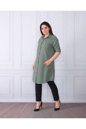 By Alba Collection Kadın Yeşil  Pamuk Keten Büyük Beden Tunik 0
