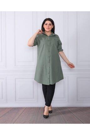 By Alba Collection Kadın Yeşil  Pamuk Keten Büyük Beden Tunik 1