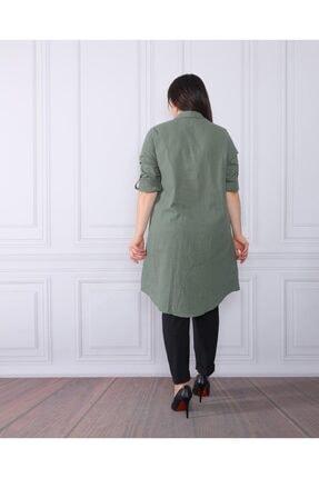 By Alba Collection Kadın Yeşil  Pamuk Keten Büyük Beden Tunik 2