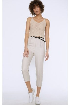Quzu Kadın Bej Kemerli Pantolon 1