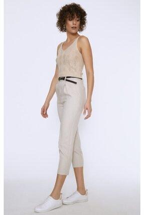 Quzu Kadın Bej Kemerli Pantolon 3