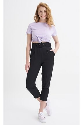 Quzu Kadın Siyah Kemerli Pantolon 0