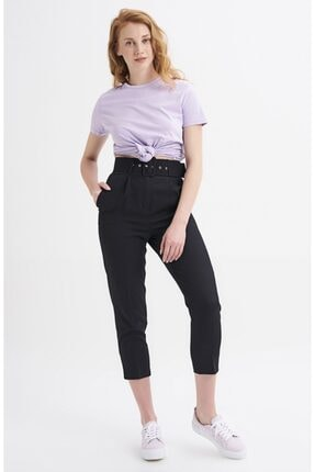 Quzu Kadın Siyah Kemerli Pantolon 2