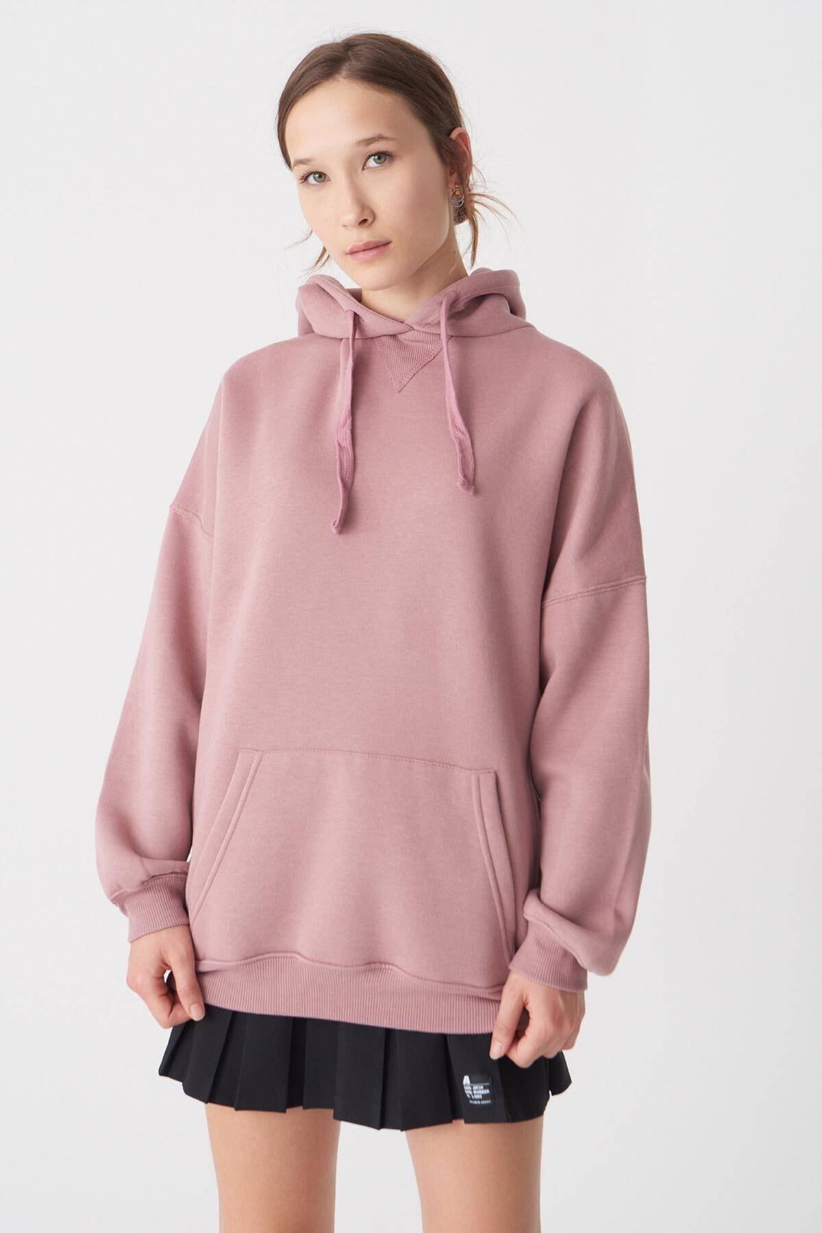 Addax Kadın Koyu Gül Kapüşonlu Sweatshirt S0519 - H7 ADX-0000014040 2