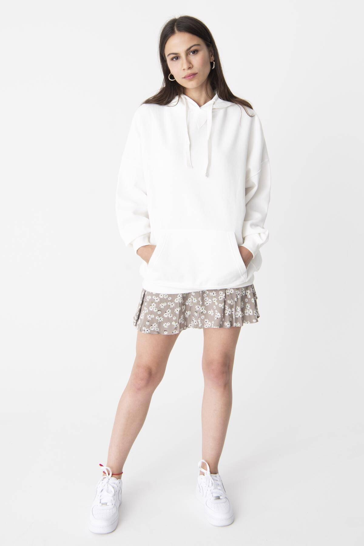 Addax Kadın Ekru Kapüşonlu Sweatshirt ADX-0000014040