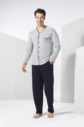 Erkek Gri 4 Mevsimlik Pamuklu Önden Düğmeli Büyük Beden Pijama Takımı resmi