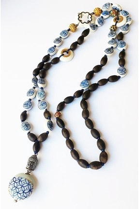 Zeynep Erol Jewelry Altın Elmas Antik Parçalı Bleu Blanc Mala Kolye 0