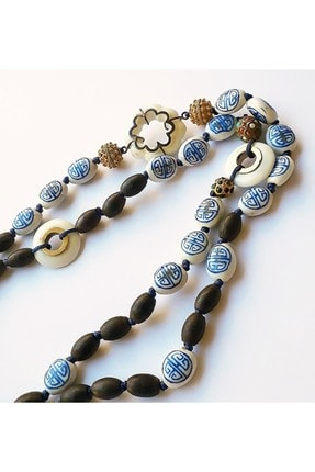 Zeynep Erol Jewelry Altın Elmas Antik Parçalı Bleu Blanc Mala Kolye 2
