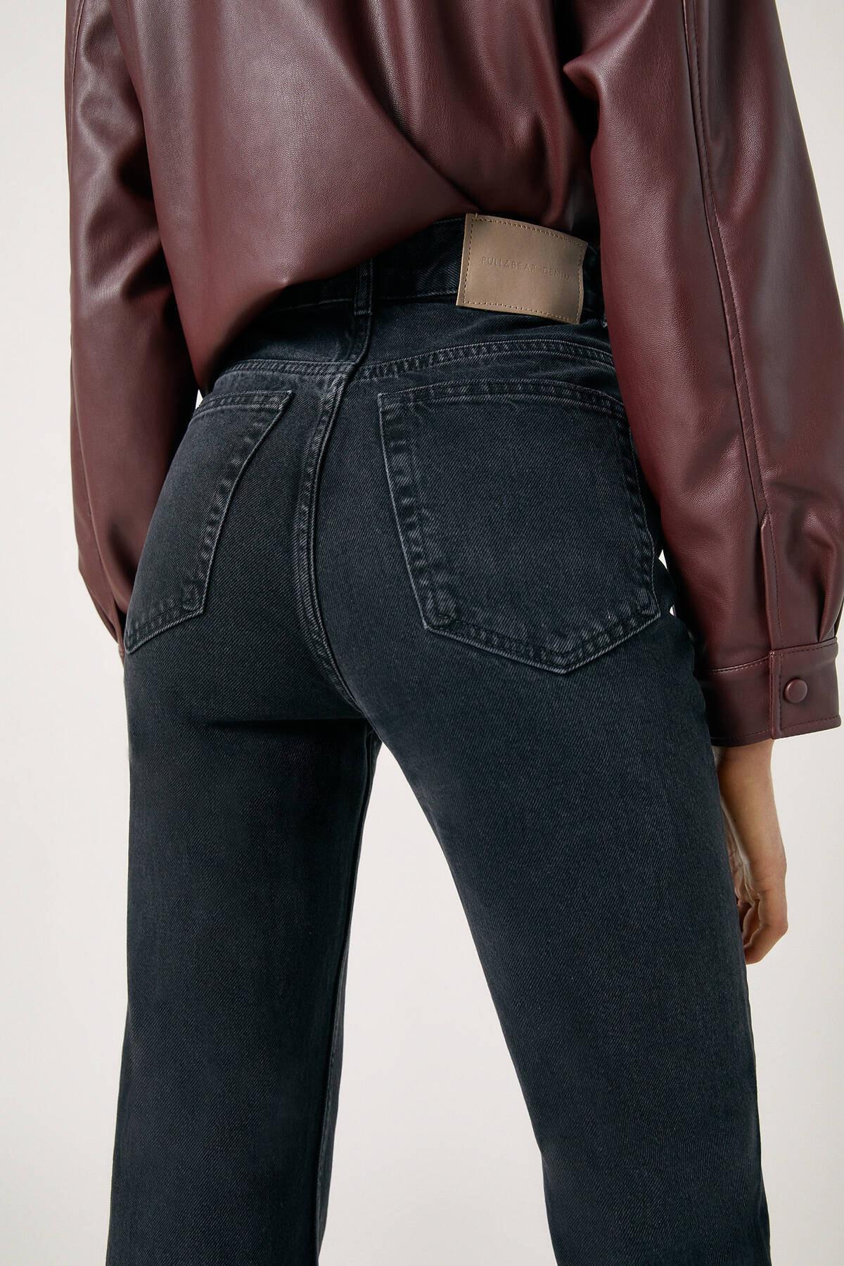Pull & Bear Kadın Siyah High Waist Jeans With Seam Detail 09683326 2