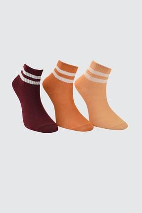 TRENDYOLMİLLA Kiremit 3'lü Paket Örme Çorap TWOAW20CO0054 1