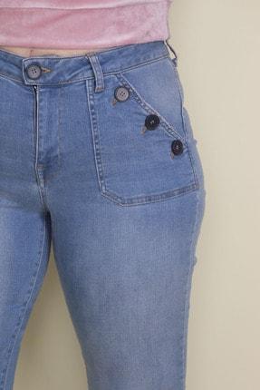 Şans Kadın Mavi Düğme Ve Cep Detaylı Likralı Kot Pantolon 65N18144 4