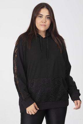 Şans Kadın Siyah Dantel Ve Cep Detaylı Kapşonlu Sweatshirt 65N18127 2