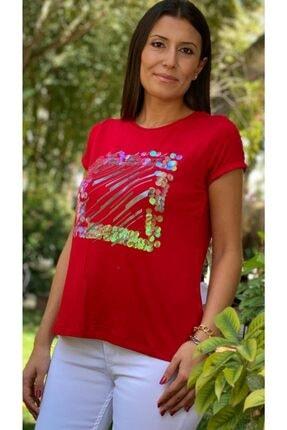 TUĞBALİ Kadın Kırmızı Pul Payet Detaylı Bluz 1