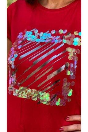 TUĞBALİ Kadın Kırmızı Pul Payet Detaylı Bluz 2