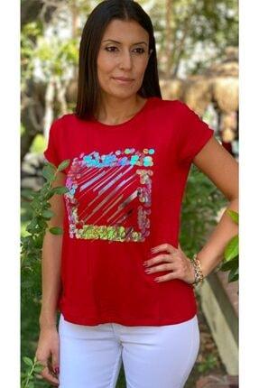 TUĞBALİ Kadın Kırmızı Pul Payet Detaylı Bluz 3