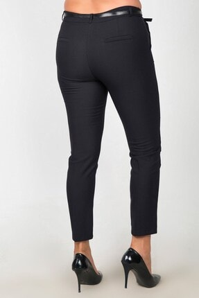 Womenice Kadın Siyah Yüksek Bel Klasik Kumaş Büyük Beden Pantolon 2