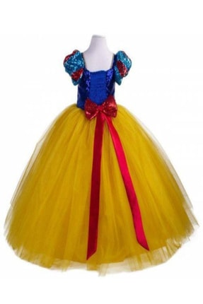 DEHAMODA Kız Çocuk Sarı Tarlatanlı Pelerin Ve Taç Hediyeli Pamuk Prenses Elbise 2
