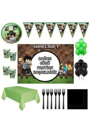 Parti Furyası Minecraft Afişli Doğum Günü Parti Süsleri 32 Kişilik 0