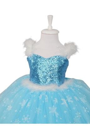 DEHAMODA Kız Çocuk Askılı Tarlatanlı Taç Asa Saç Hediyeli Mavi Elsa Elbise 1