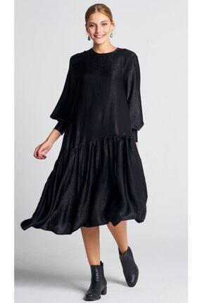 AIGYN Kadın Siyah Asimetrik Trend Saten Elbise 0