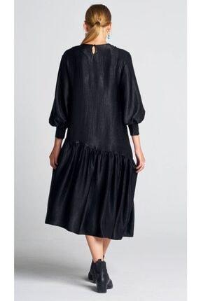 AIGYN Kadın Siyah Asimetrik Trend Saten Elbise 3