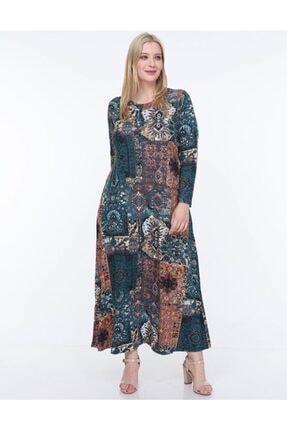 Şirin Butik Kadın Mavi Etnik Desen Yaka Pervazlı Viskon Elbise 0