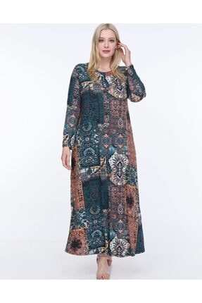 Şirin Butik Kadın Mavi Etnik Desen Yaka Pervazlı Viskon Elbise 1