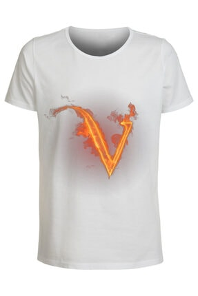 ABC Kadın Beyaz V Harfı Baskılı Büyük Beden T-Shirt 0