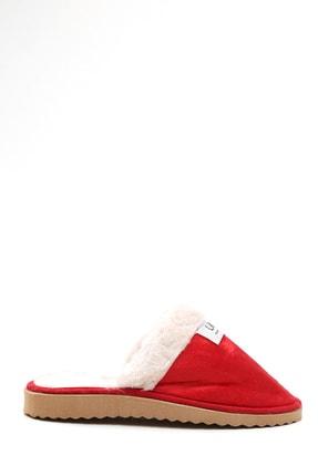S1441 Kadın Kırmızı Kürklü Süet Ev Terliği 1