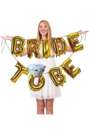 Patladı Gitti Tek Taşlı Bride To Be 9 Adet Harf Gold Renk Folyo Balon Seti, Bride To Bee Parti Kutlama 0