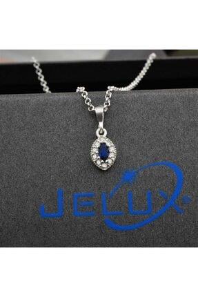jelux silver Oval Model Safir Taşlı Çocuk Kolye 0