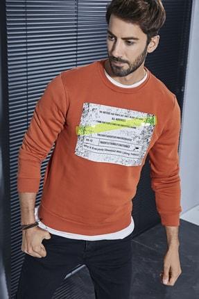 Sateen Men Erkek Koyu Oranj Plastik Şerit Baskılı Sweat 0