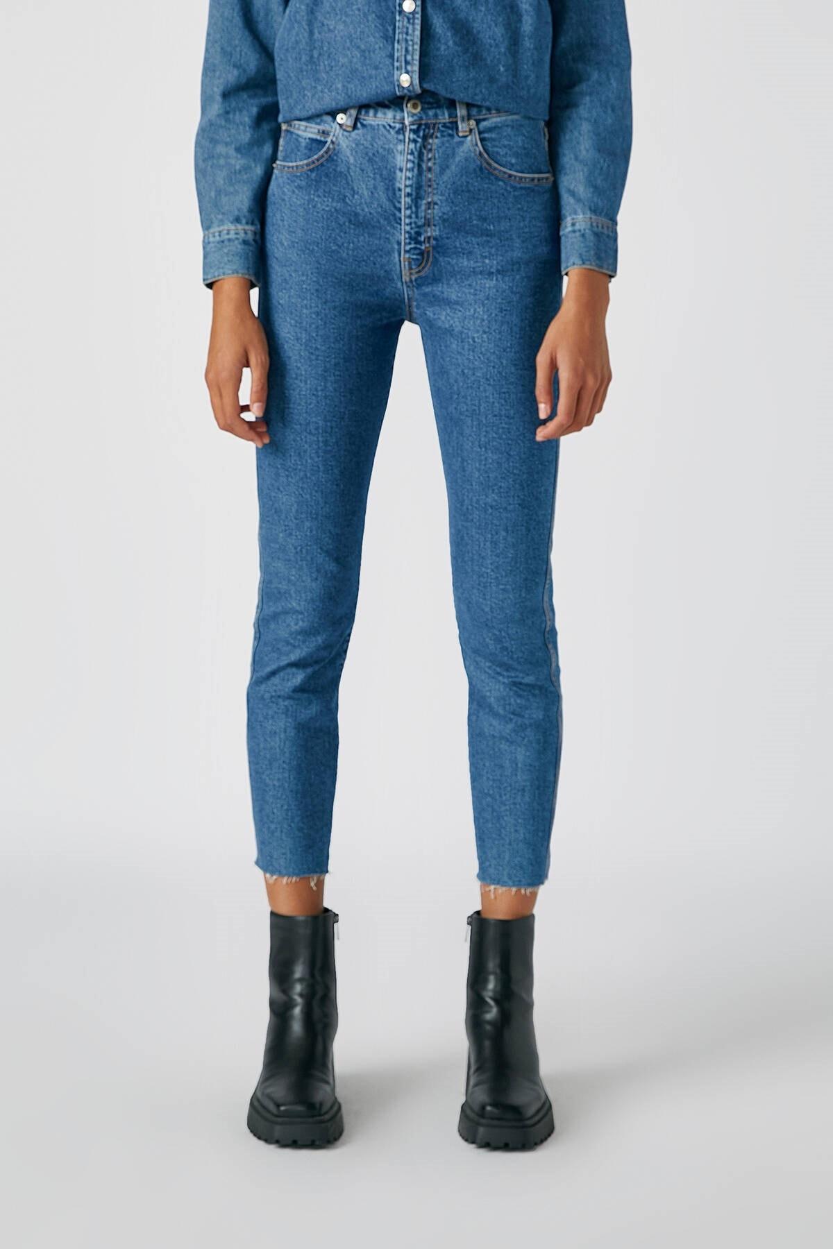 Pull & Bear Kadın Mavi Comfort Slim Fit Mom Jean 05682305 3