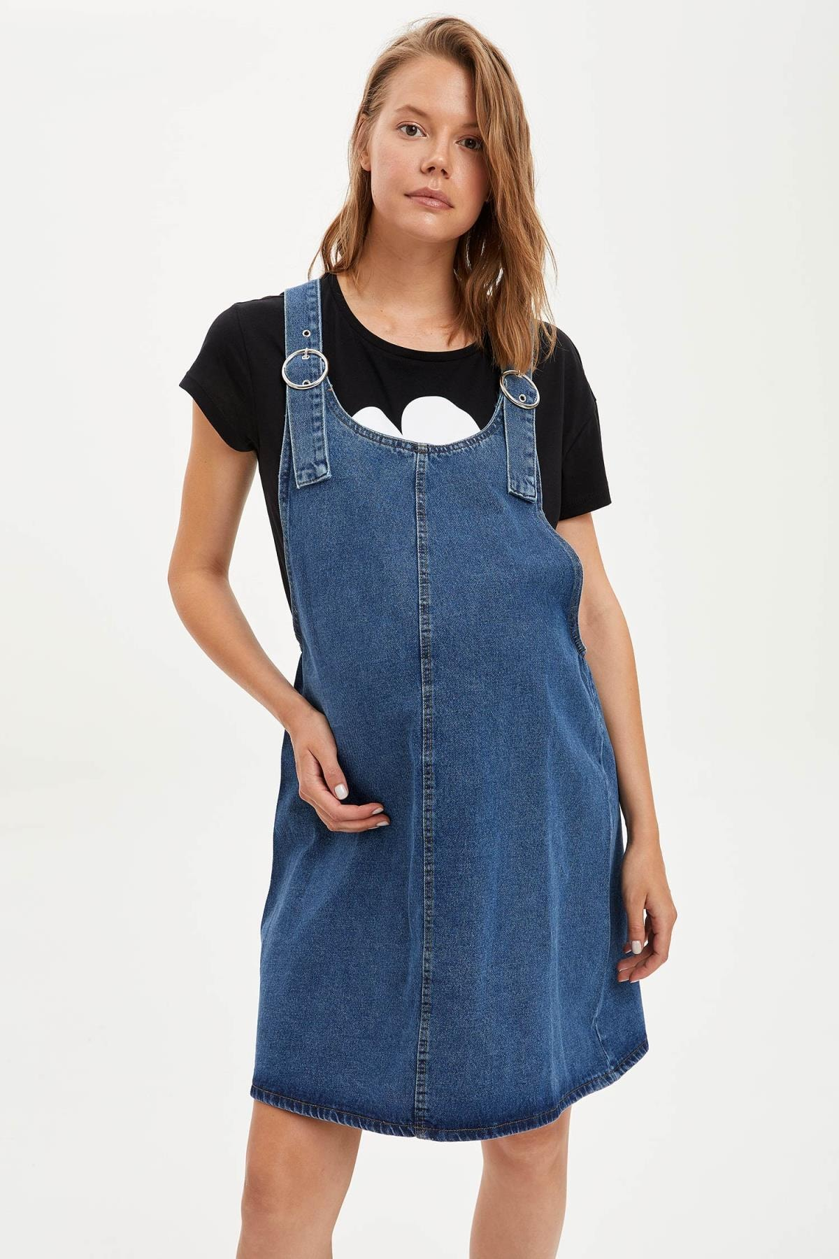 Defacto Kadın Çivit Mavisi Omuzları Kemer Detayl Hamile Jean Elbise R0413AZ20AU 0