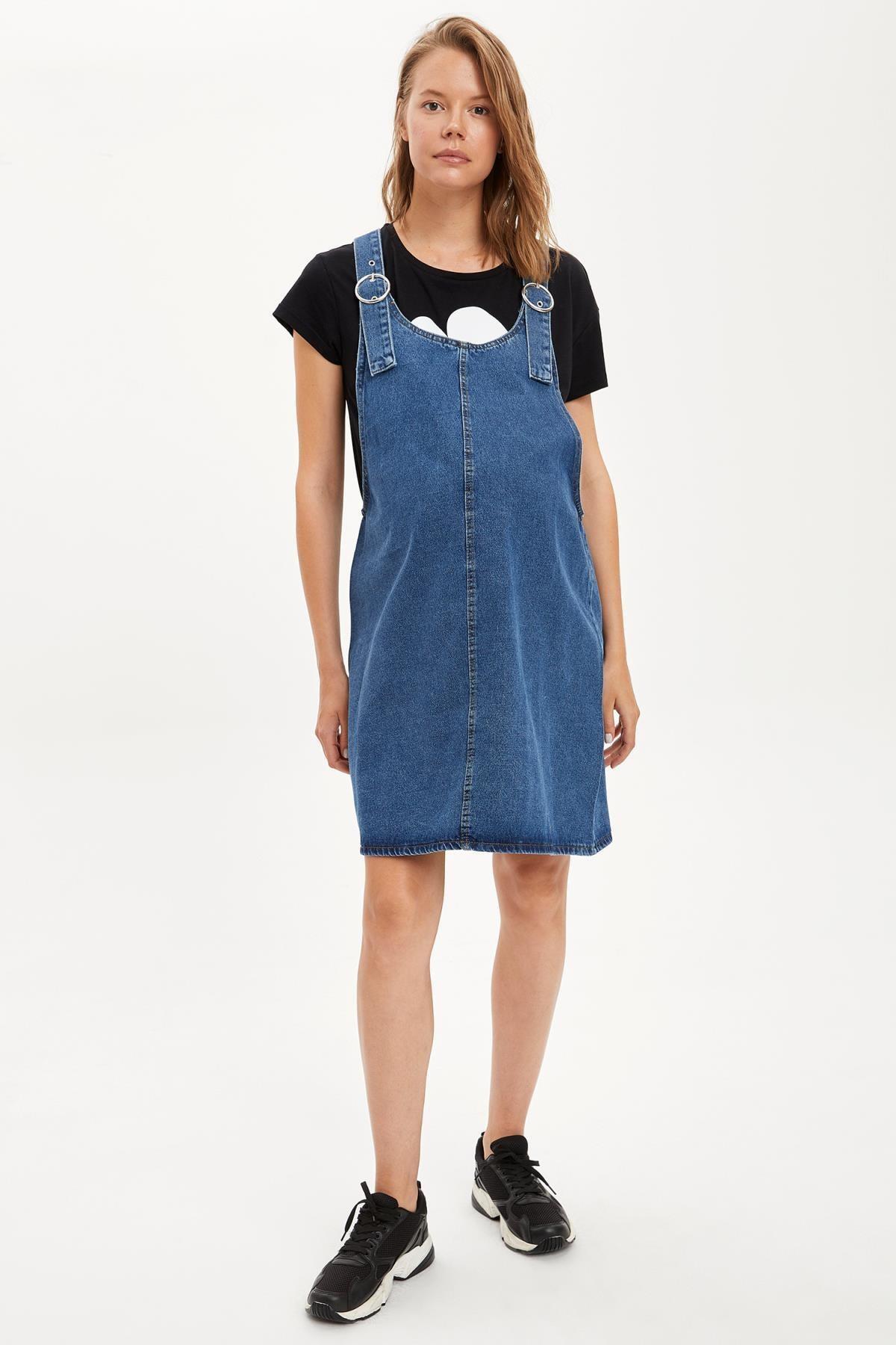 Defacto Kadın Çivit Mavisi Omuzları Kemer Detayl Hamile Jean Elbise R0413AZ20AU 1