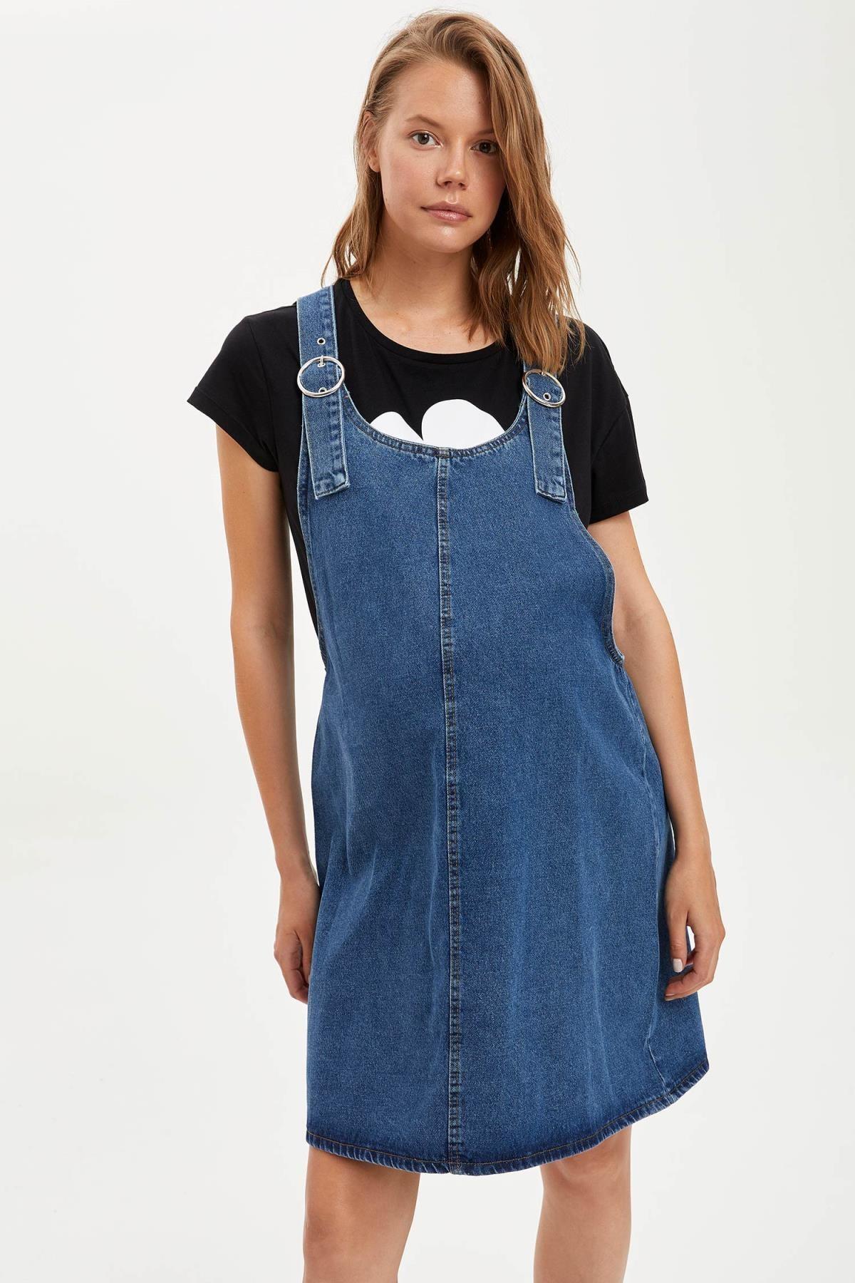 Defacto Kadın Çivit Mavisi Omuzları Kemer Detayl Hamile Jean Elbise R0413AZ20AU 2