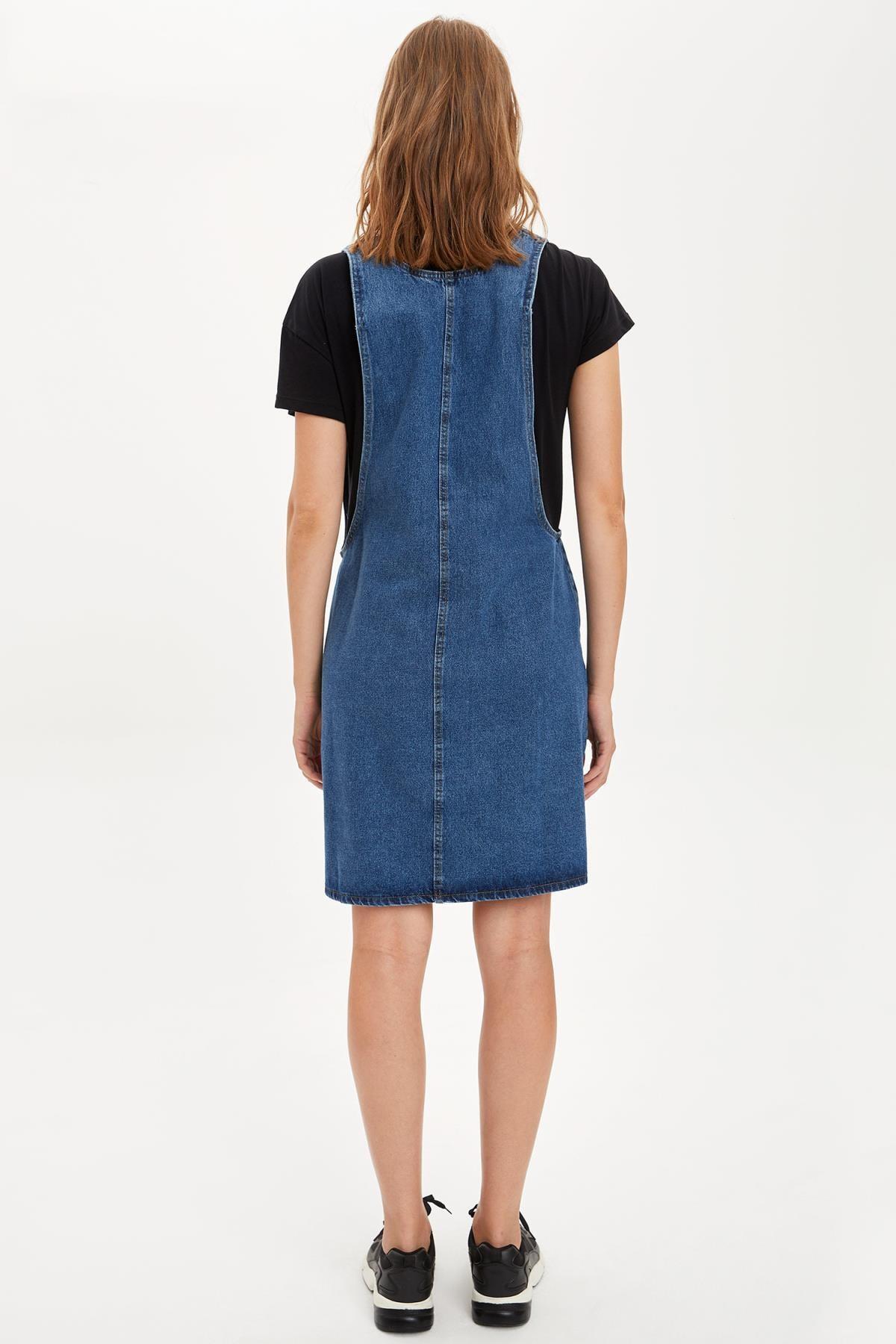Defacto Kadın Çivit Mavisi Omuzları Kemer Detayl Hamile Jean Elbise R0413AZ20AU 4