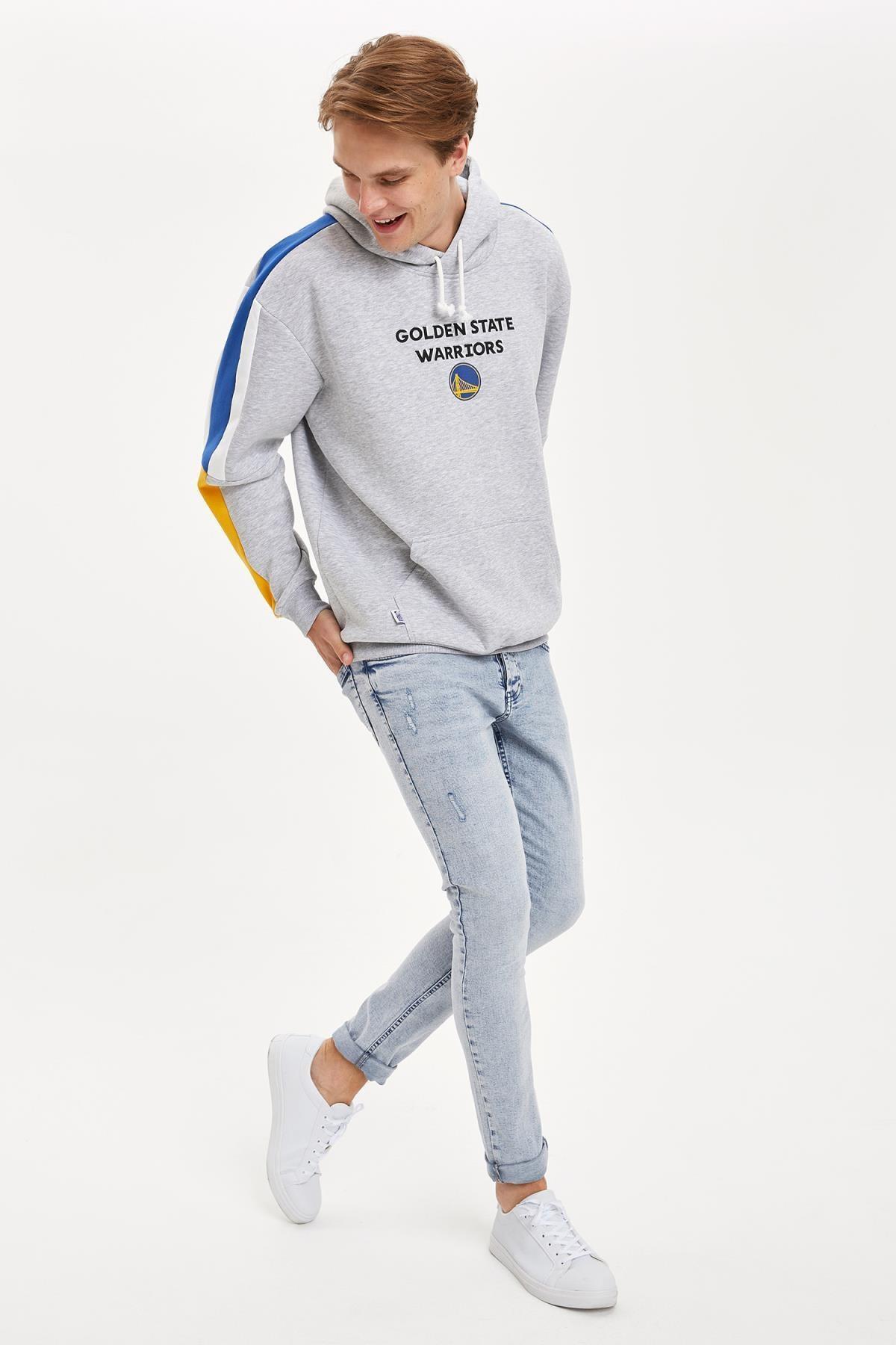 Defacto Fit Erkek Nba Lisanslı Unisex Over Size Fit Kapüşonlu Sweatshirt 1