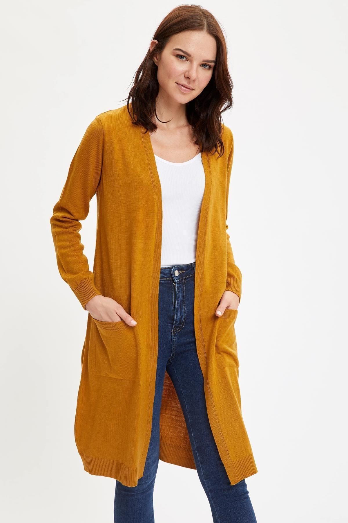 Defacto Kadın Uzun Basic Triko Hırka 0