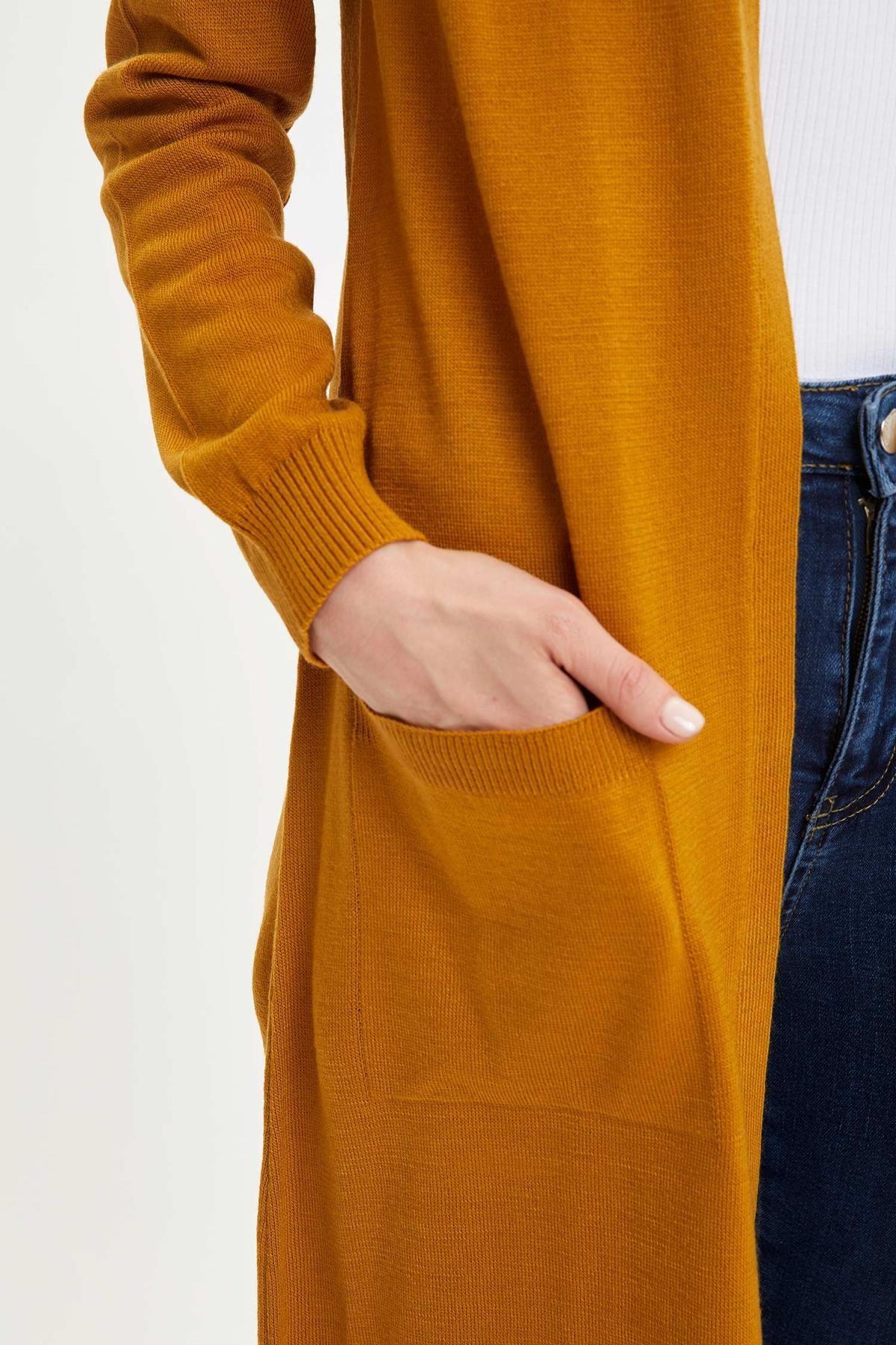 Defacto Kadın Uzun Basic Triko Hırka 2
