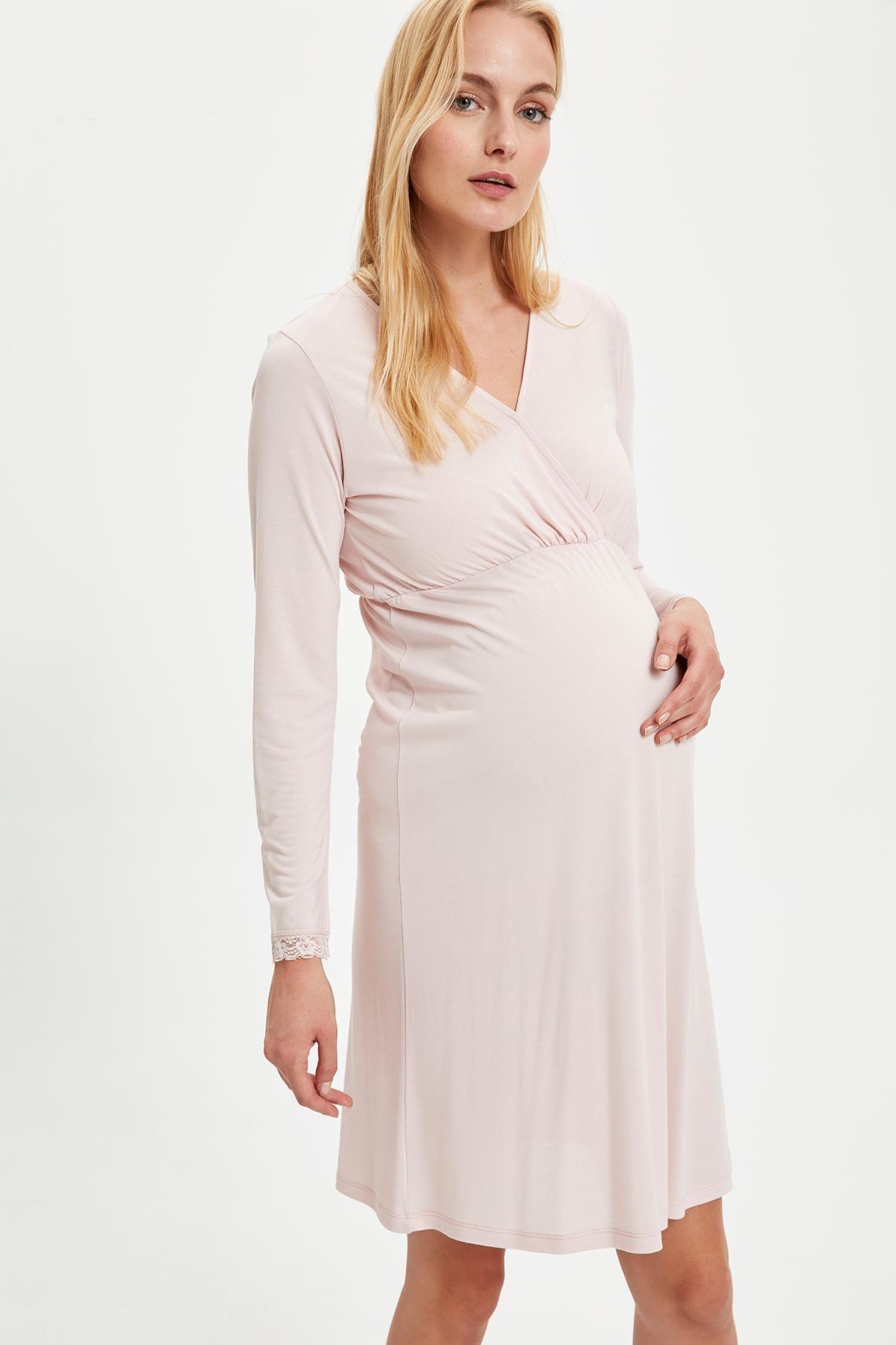 Defacto Maternityv Yaka Dantelli Regular Fit Gecelik 0