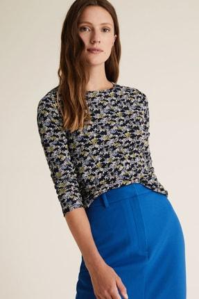 Marks & Spencer Kadın Lacivert Çiçek Desenli Uzun Kollu T-Shirt T41004580 1