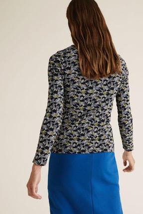 Marks & Spencer Kadın Lacivert Çiçek Desenli Uzun Kollu T-Shirt T41004580 2
